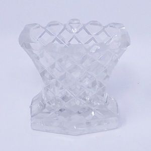 Vintage Cut Glass Toothpick Holder-Diamond Pattern